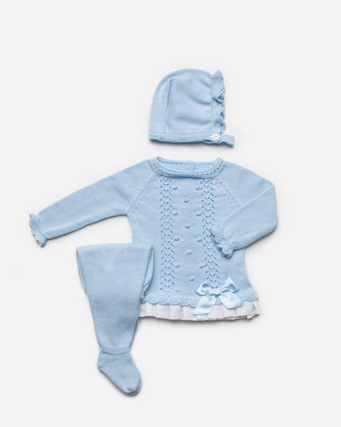 Newborn openwork and  white ruffle 3p set