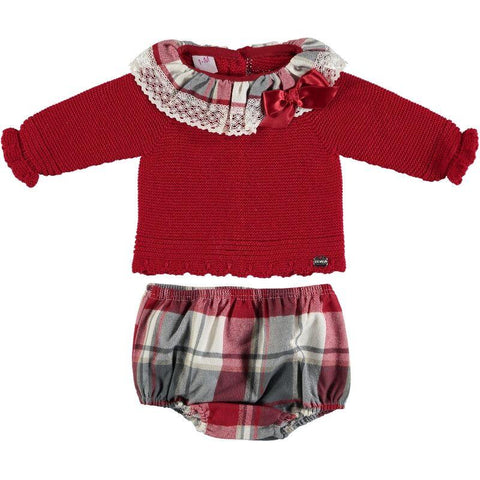 Baby Girls Plaid lace set