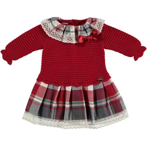 Baby Girls Plaid Ruffle  Collar dress