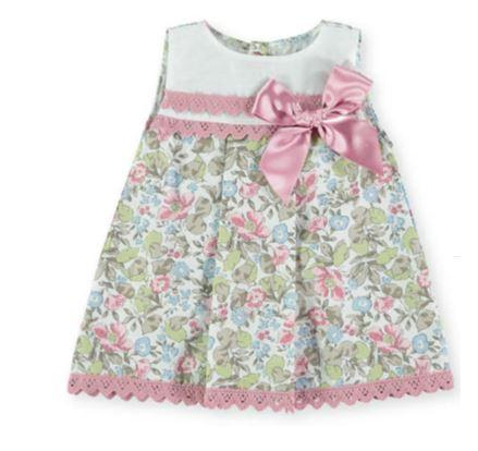 Baby Girls Flower printed dress with bow