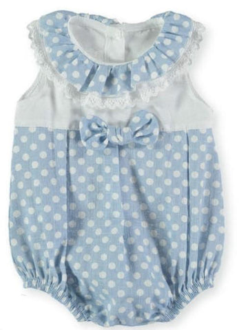 Baby Girls Romper with polka dots collar