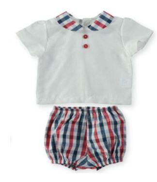 Baby Boys blue red plaid set