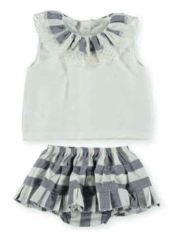 Baby Girls ruffle shirt and stripes panty skirt