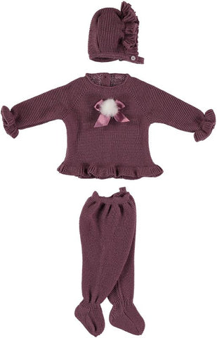 Newborn 3p set bow with pom pom