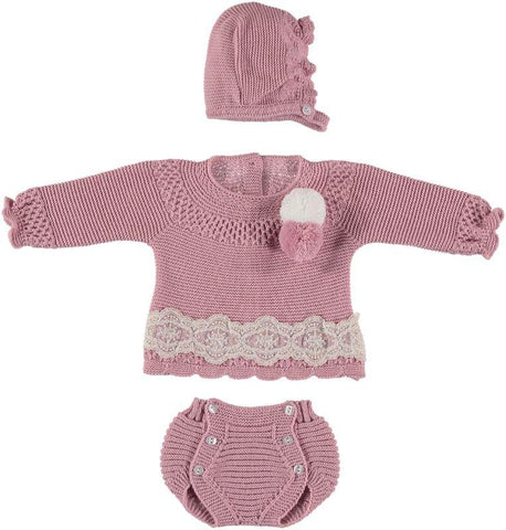 Baby girls pom pom lace set