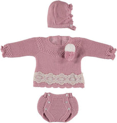 Baby girls pom pom lace panty 3p set