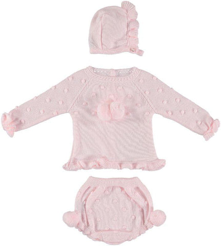 Baby girls pom pom dots set