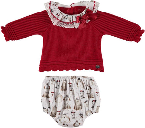 Baby Girls dogs print bloomer and red sweater set