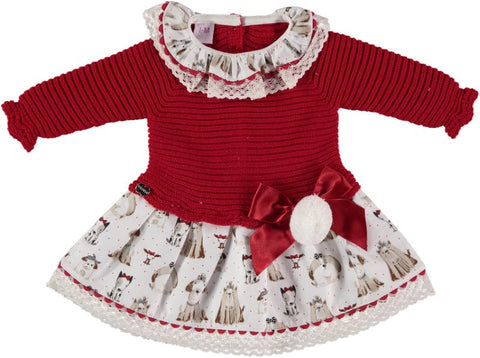 Baby low waist dogs print pom pom red dress