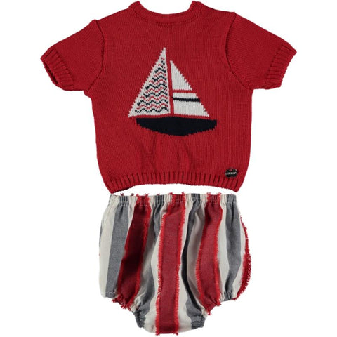 Baby Boy Jersey boat and stripes set