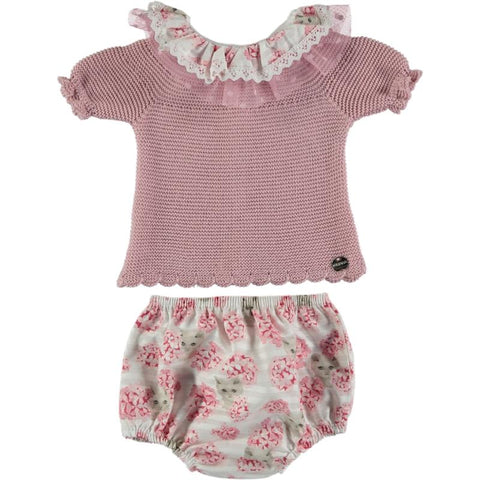 girls flowers and cats print bloomer set
