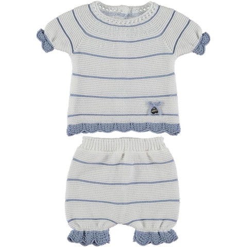 Baby boy stripes white short set