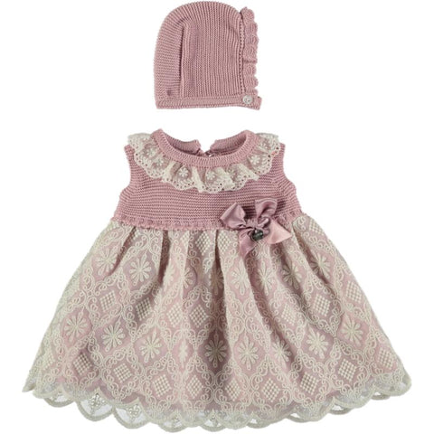 Baby girls lace with bonnet dress