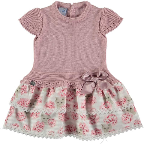 Baby girls cats and floral low waist dress