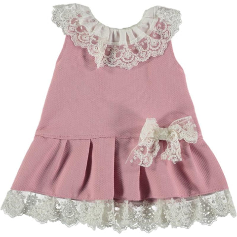 Baby girls ruffle and bow in lace low waist dress