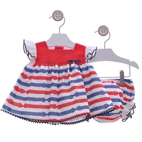 Baby girls stripes bow print short dress with bloomer