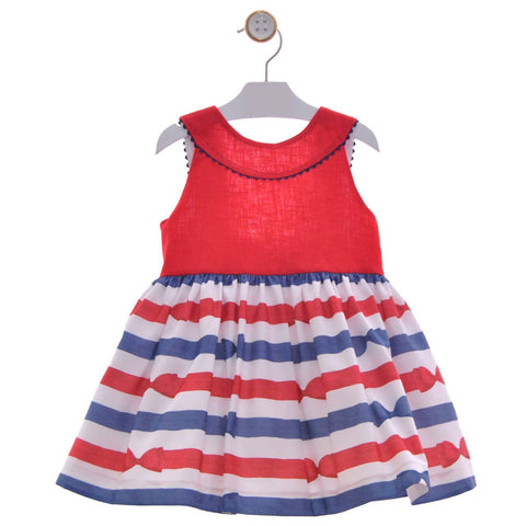 Girls stripes bow print red dress