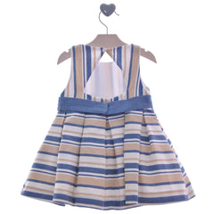 Girls stripes dress with bow detail