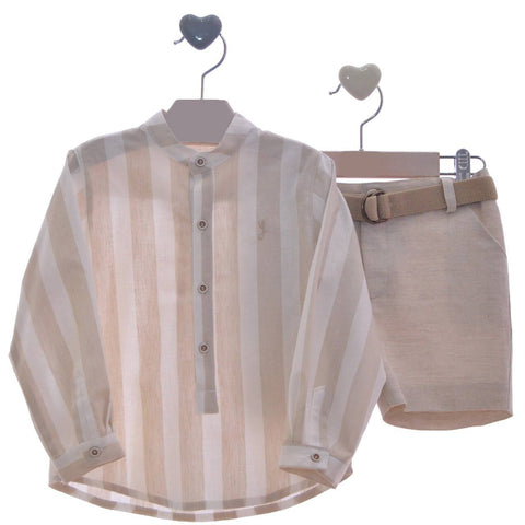 Boys mao collar stripes long sleeve shirt with short set