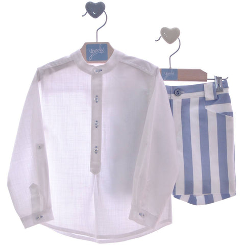 Boys stripes short  and long sleeve mao collar shirt set