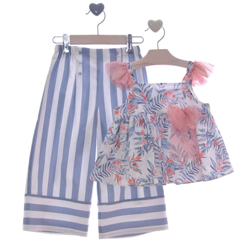 Girls stripes long pants with floral print blouse set