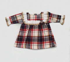 Girls plaid 3/4 sleeve gray dress