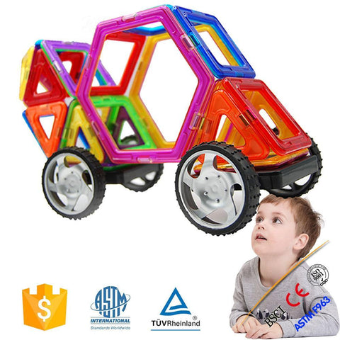Joc de Constructie Magnetic Educativ 3D - Car Set (36 piese) - Smart One