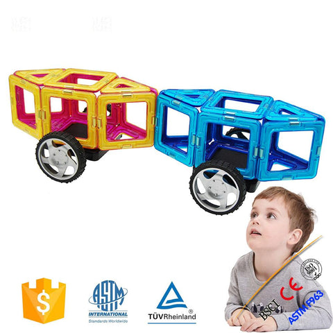 Joc de Constructie Magnetic Educativ 3D - Car Set (63 piese) - Smart One