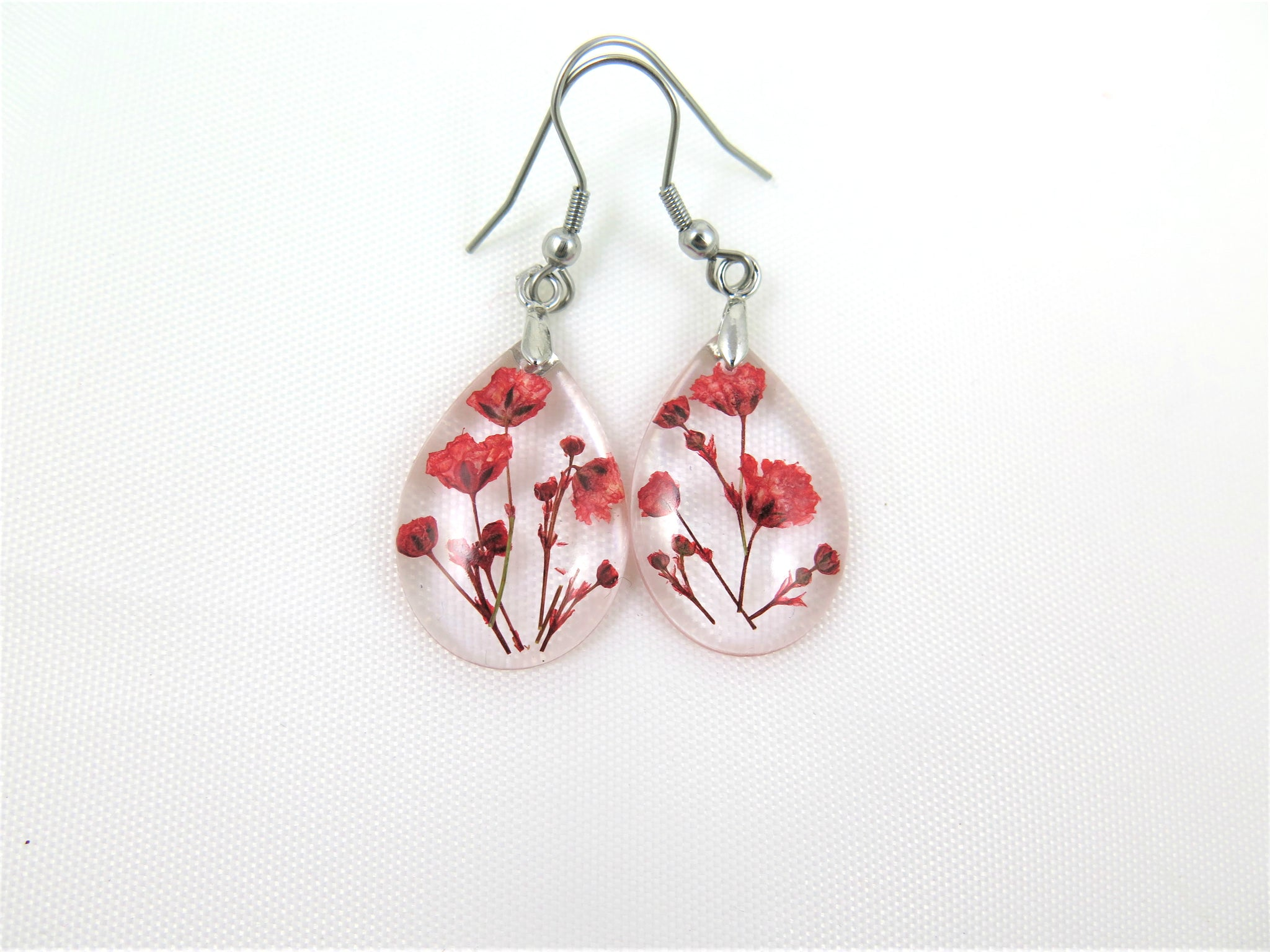 Botanical Resin Earrings, Real Flowers jewelry, Pressed Flowers handcrafted earrings