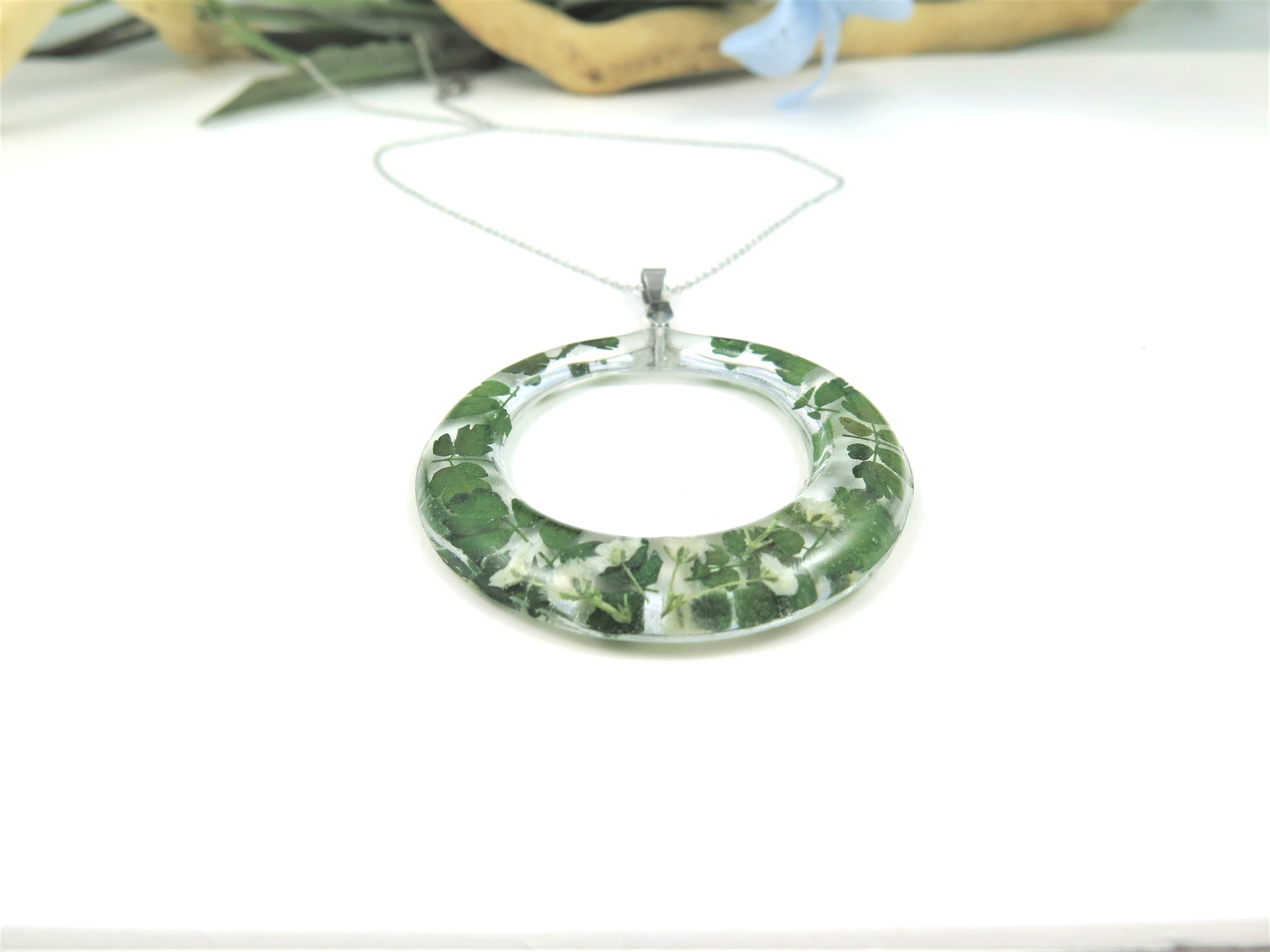 Real Flower Resin Necklace, Pressed Flower necklace, Fern and babys breath flowers
