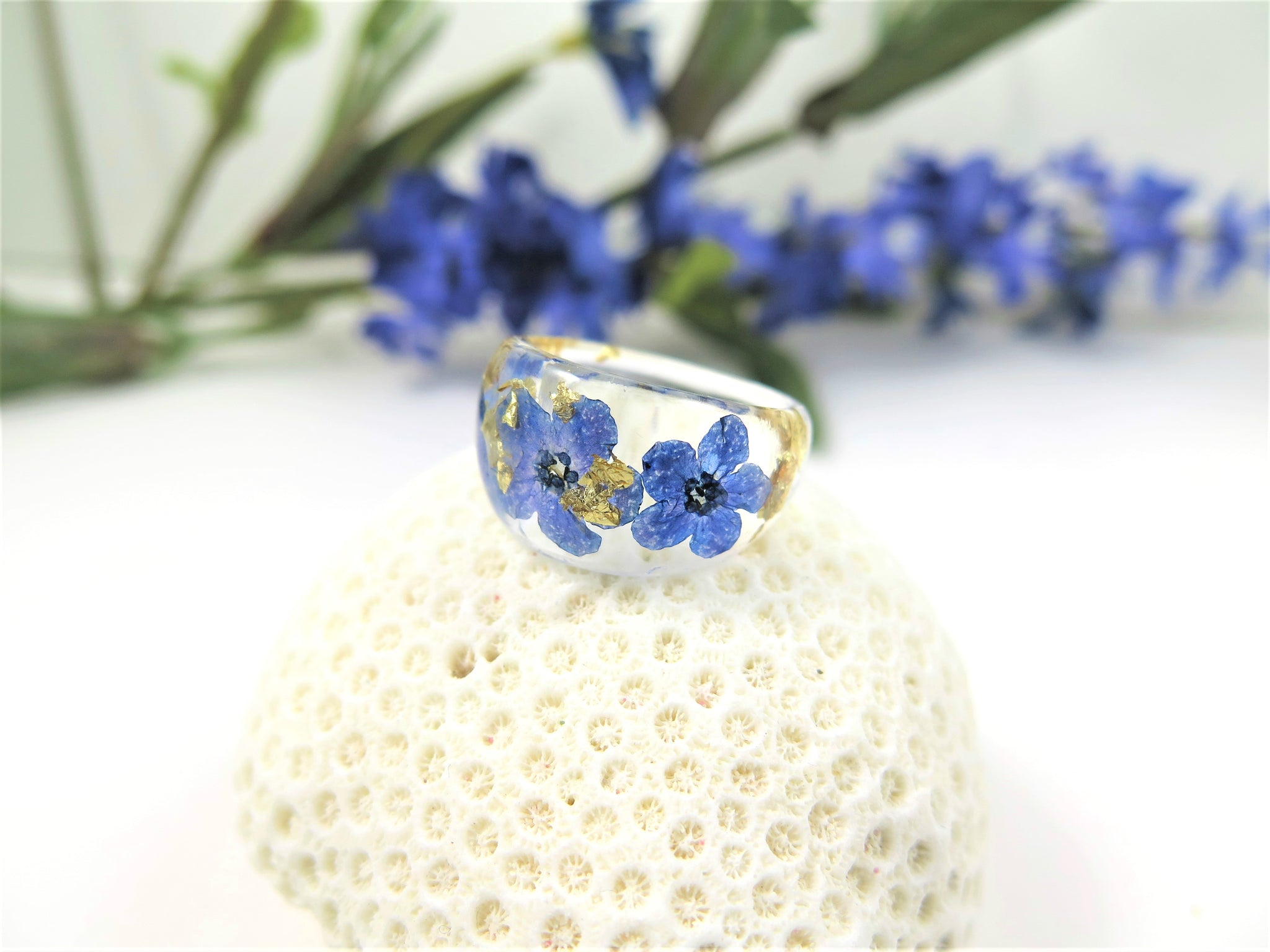 Forget me not Resin ring