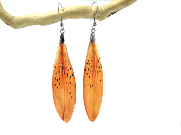 Botanical Resin Earrings Tiger Lily petals