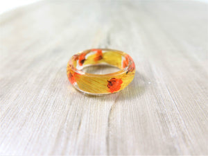 Autumn Flower ring Real flower Resin ring