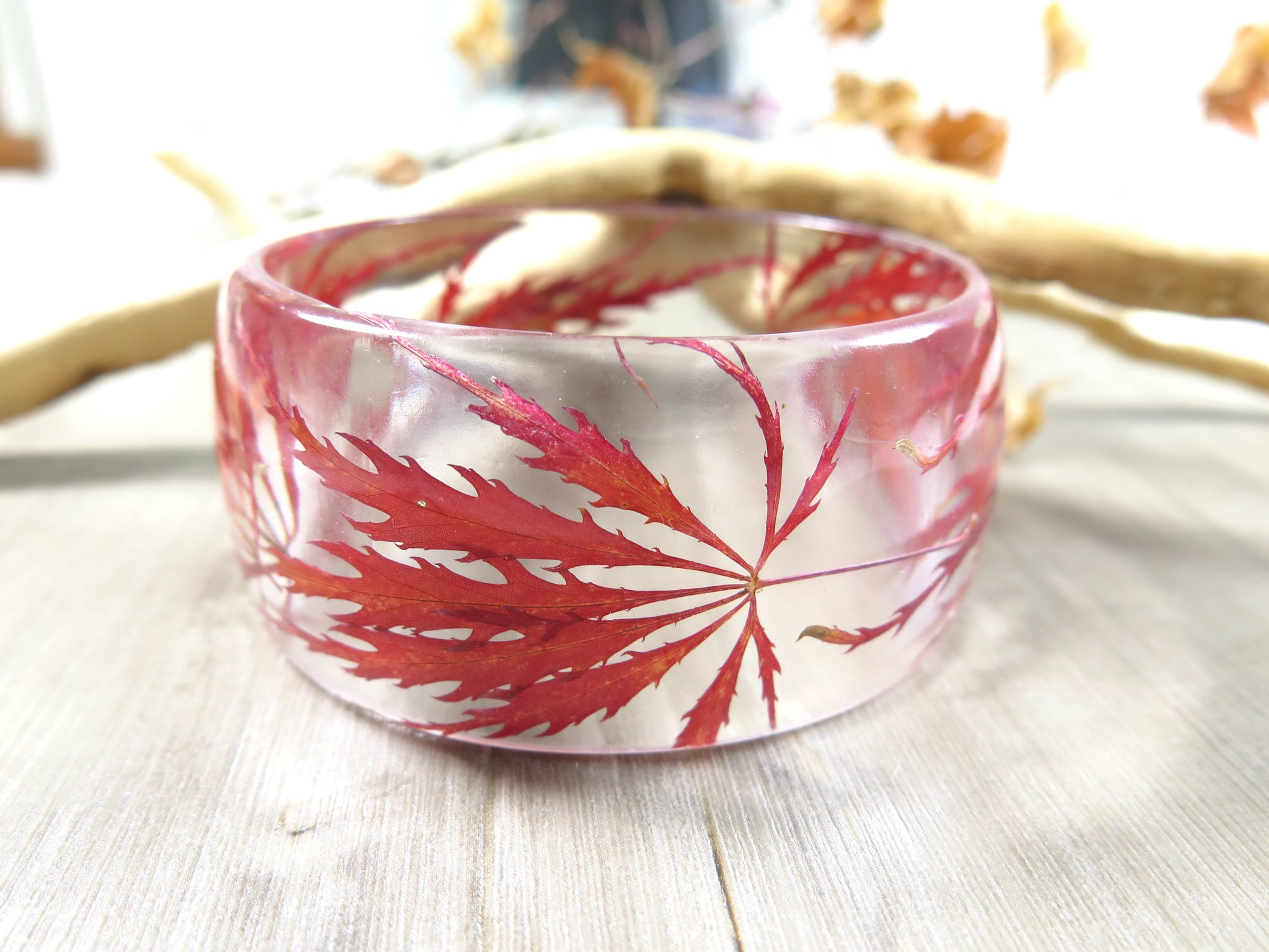 Japanese maple leaves bracelet, Handmade Resin Bangle