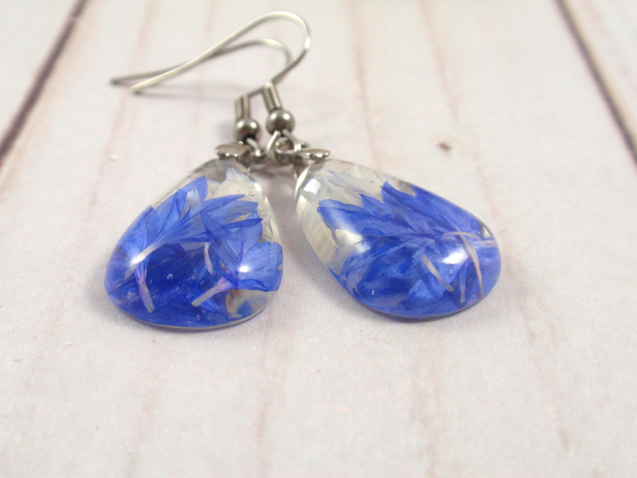 Blue Cornflower dangle pressed flower earrings
