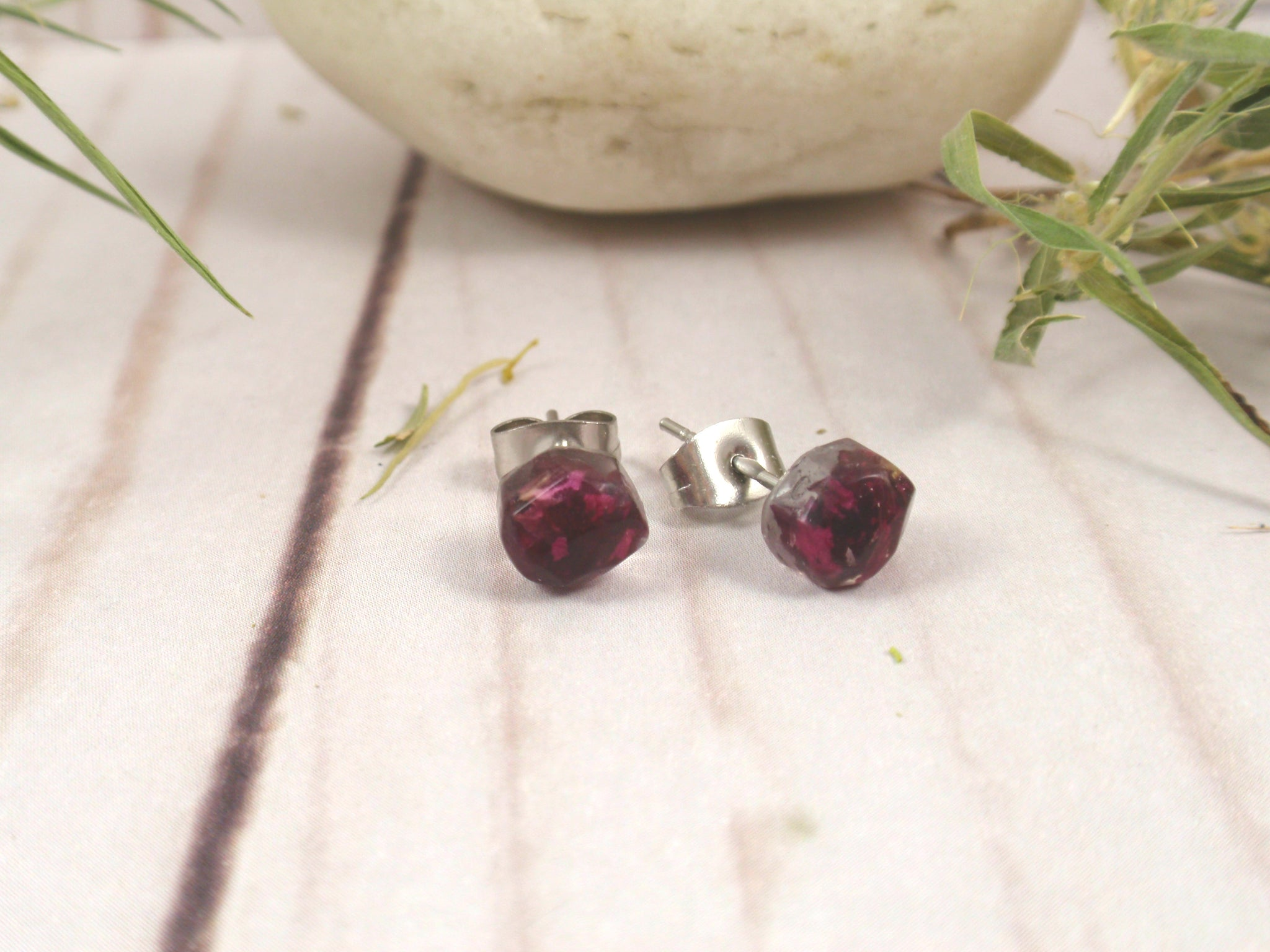 Rose stud earrings, real flower botanical jewelry
