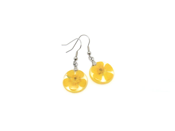 Buttercup flower drop earrings