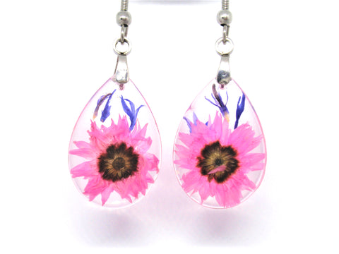handmade resin earrings with real flowers