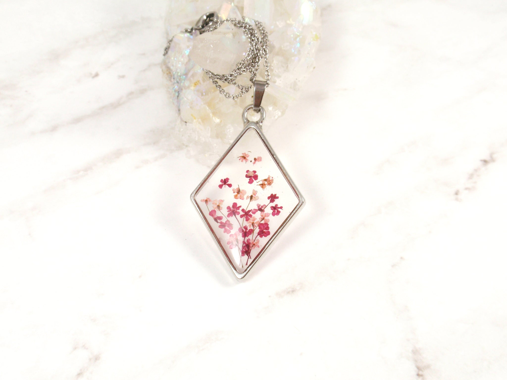 Tiny Pressed flowers rhombus necklace Queen Annes lace flower pendant