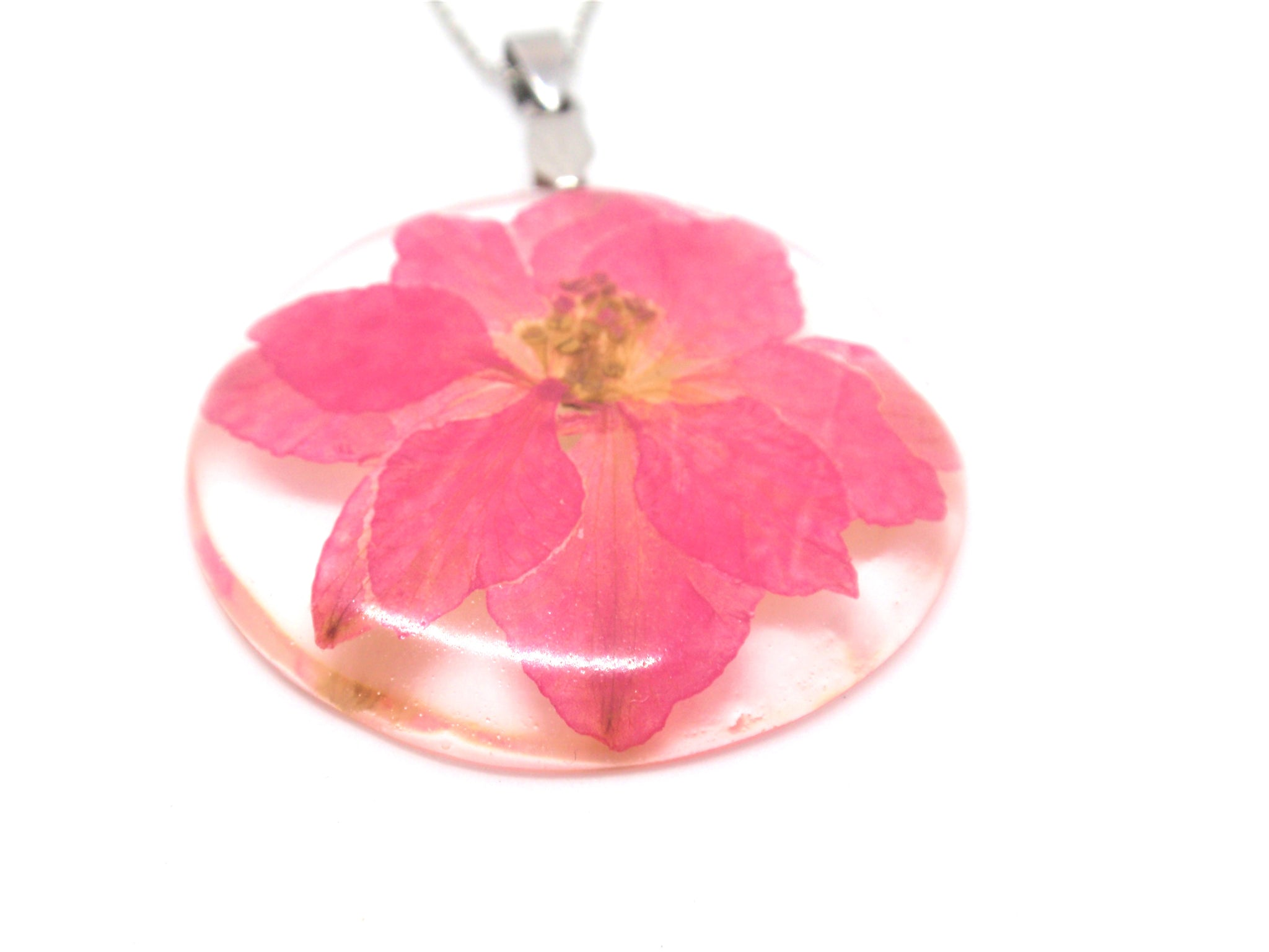 Flower  Necklace Pink Larkspur jewelry, July Birth month flower