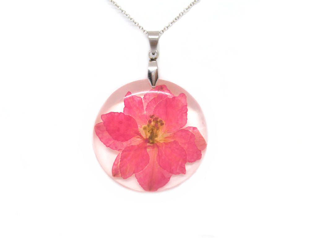 Flower Necklace Pink Larkspur Jewelry July Birth Month Flower