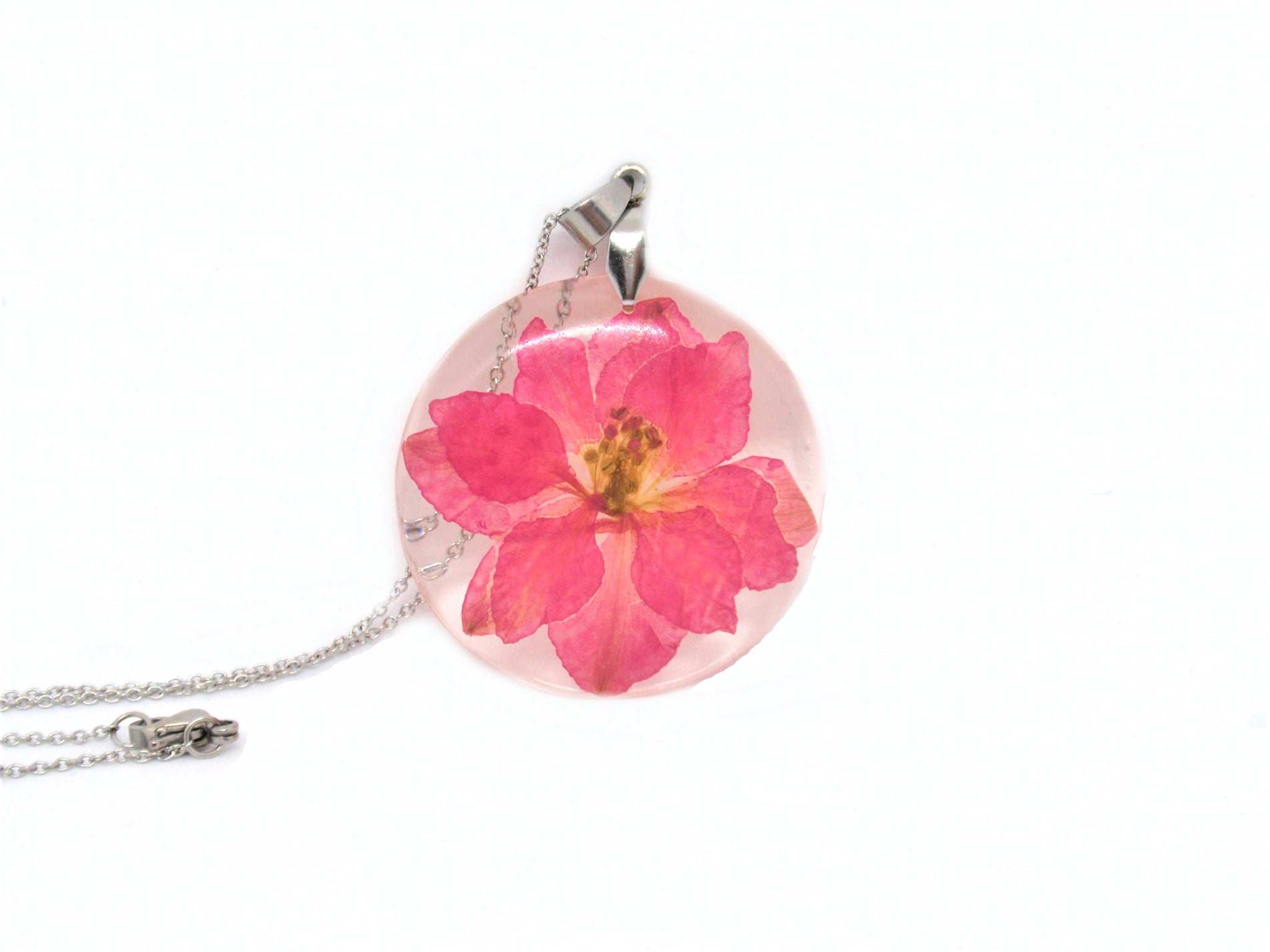 Flower Necklace Pink Larkspur jewelry