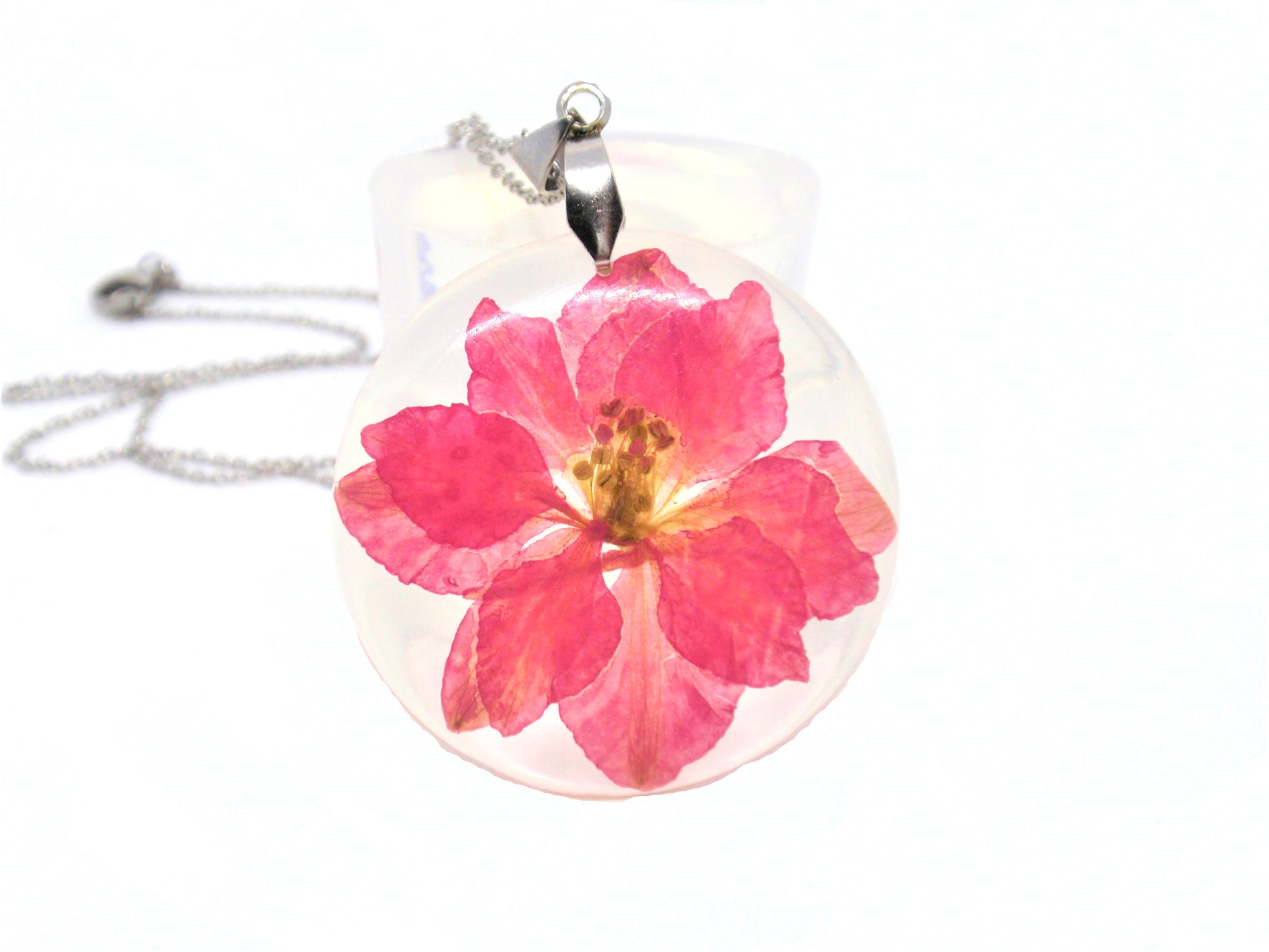 pink flower in resin