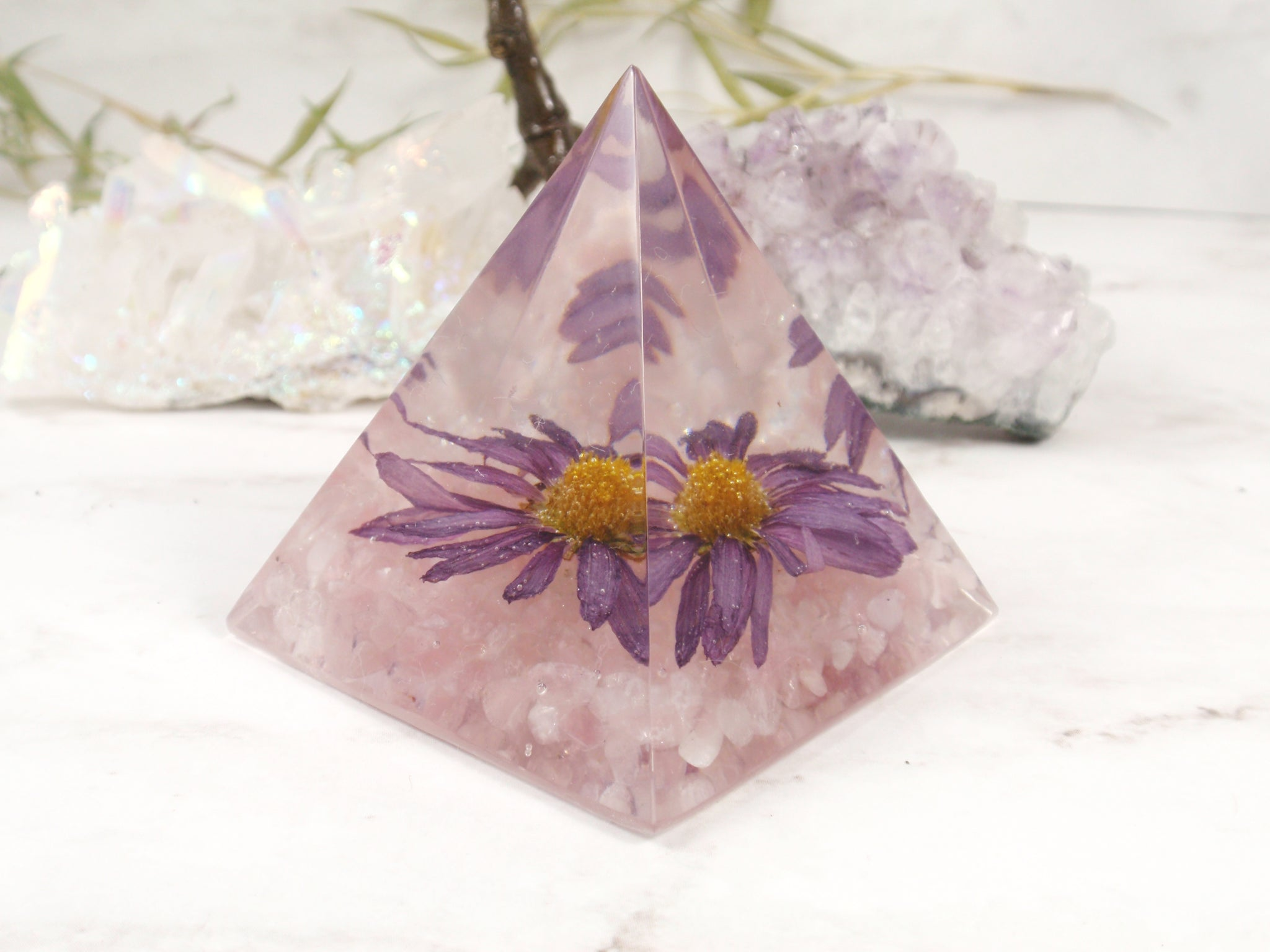 Flower paperweinght desk decor real flower home decor pyramid