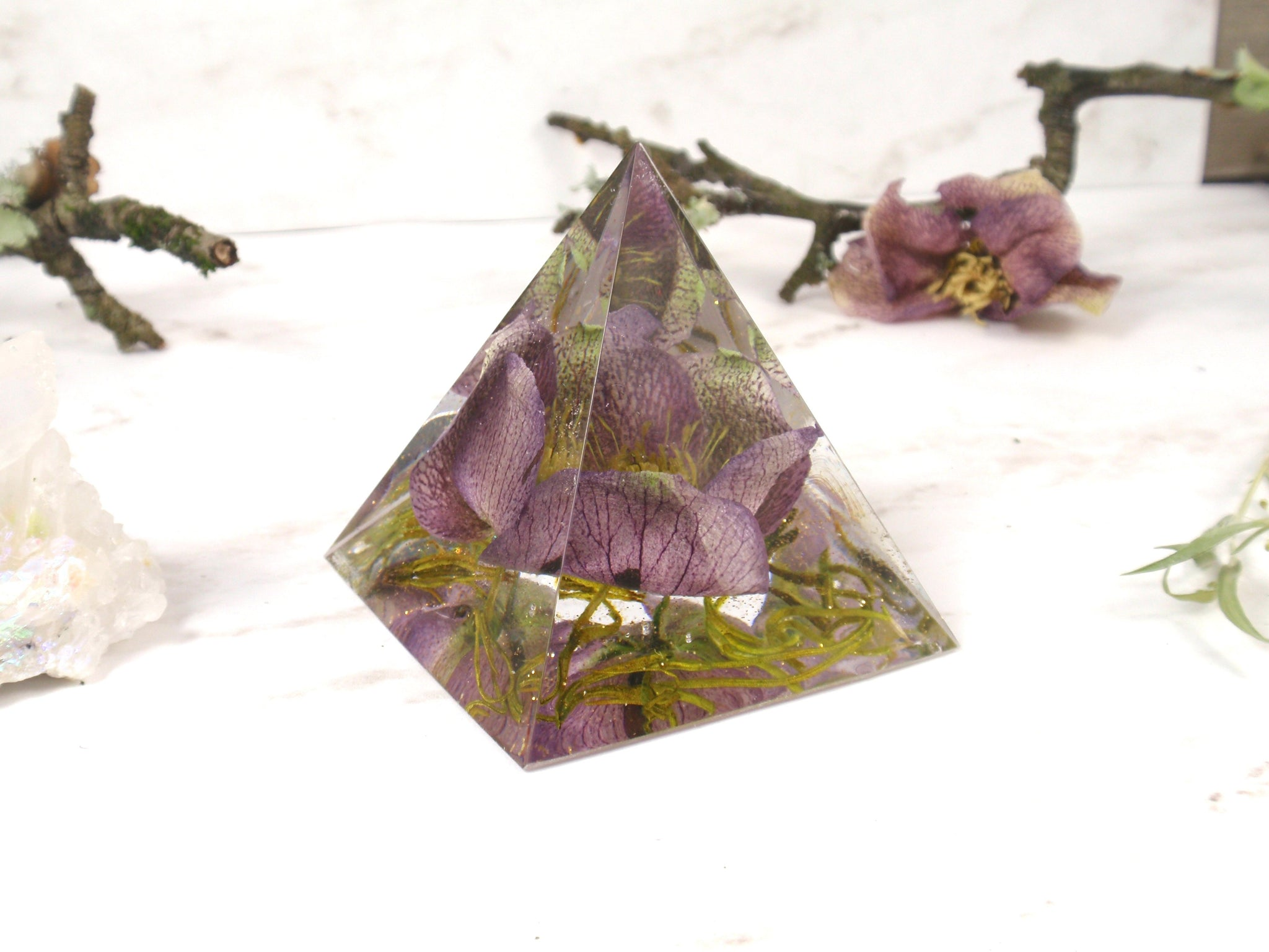 real flower home decor pyramid