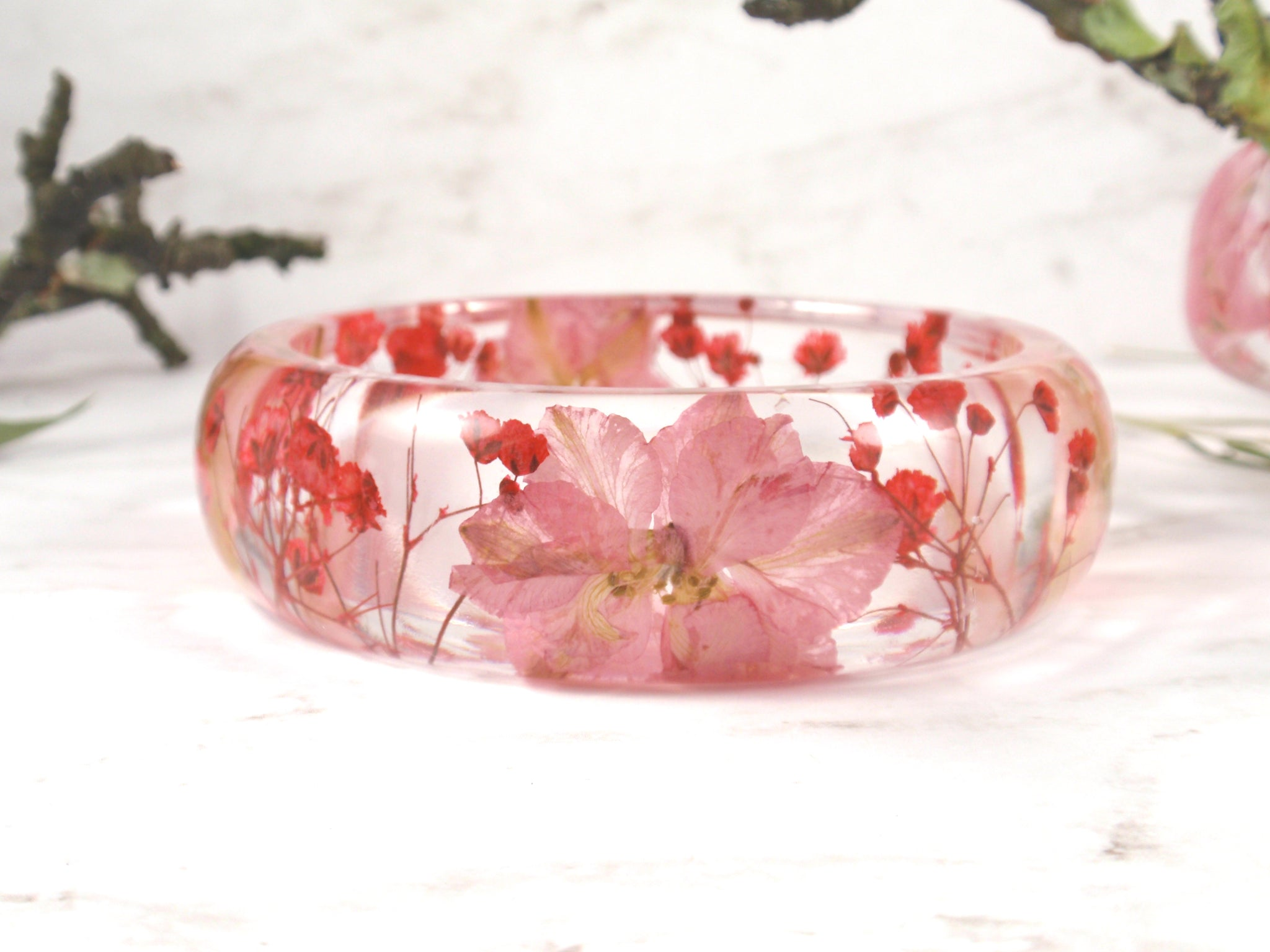 Botanical bangle bracelet, Real Pink flower bangle