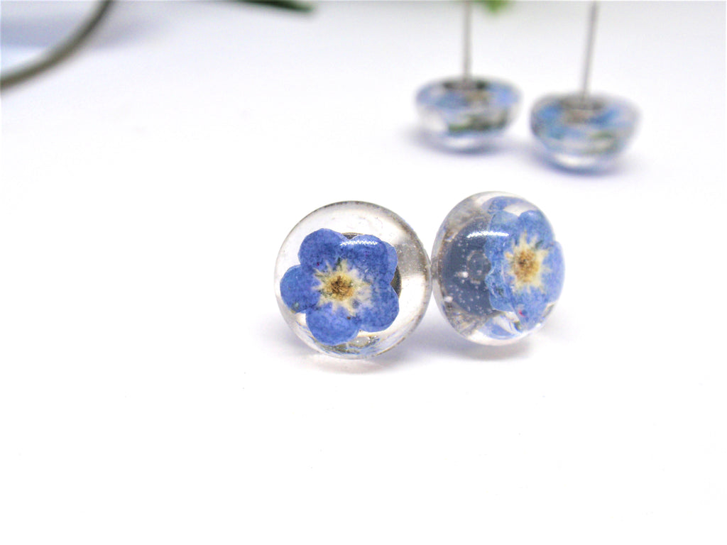 not forget stud flower with resin earring earrings post products smile me