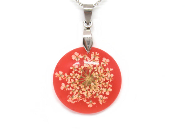 Color changing flower necklace red to yellow