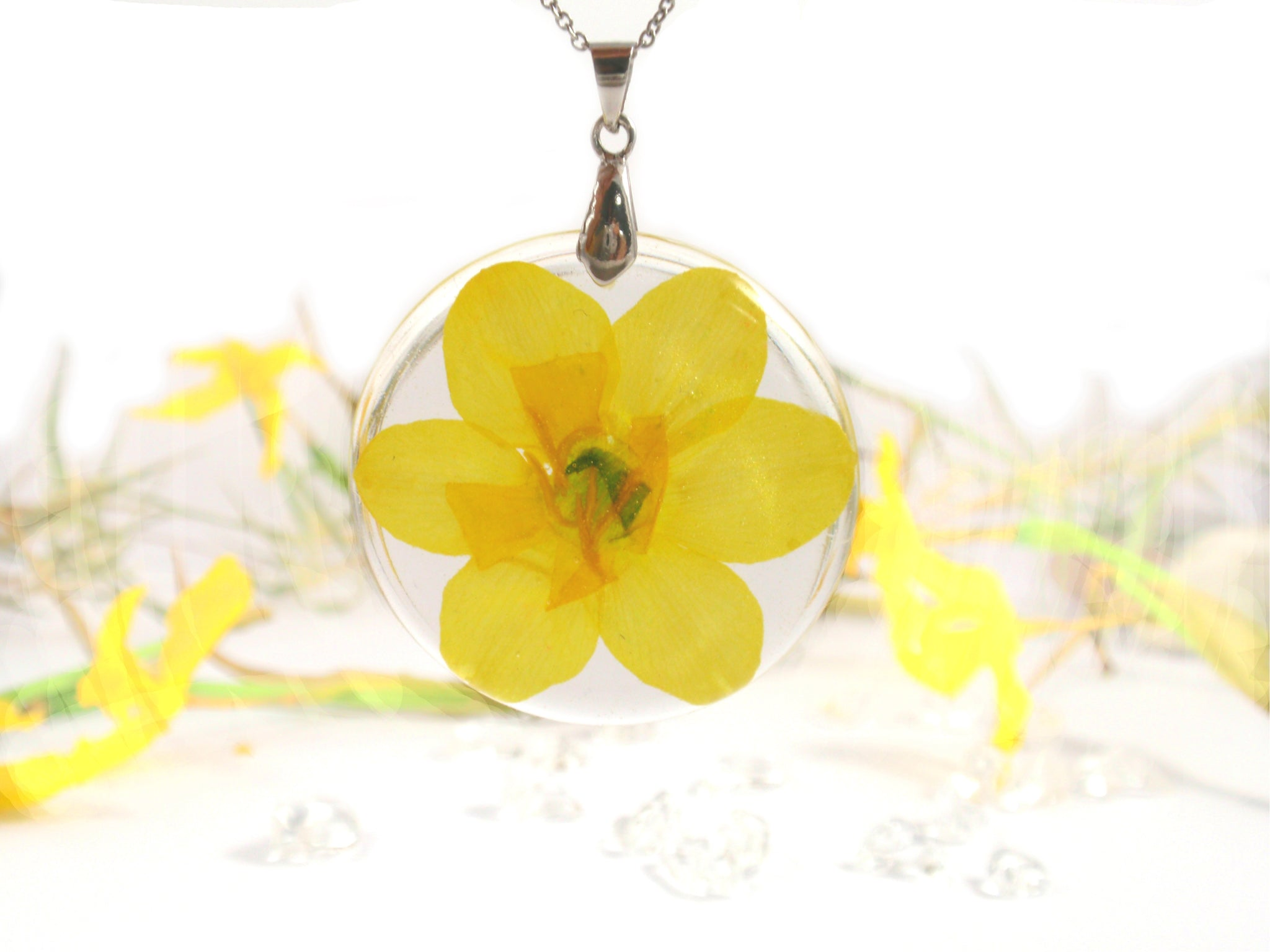 Daffodil flower Neckllace, Birth month flower March