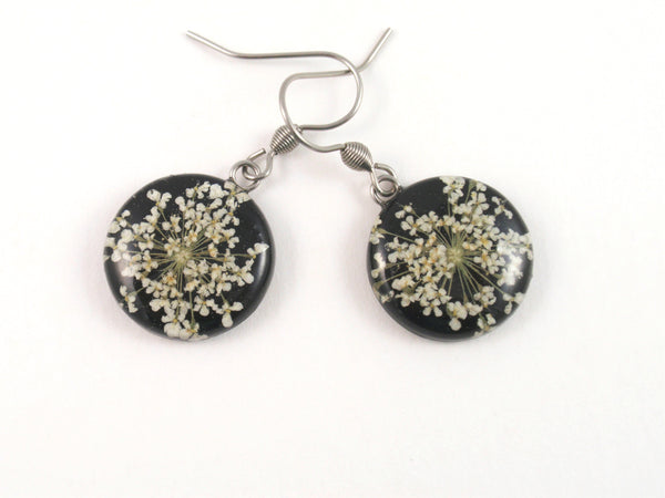 Real Flower Earrings, white and black jewelry